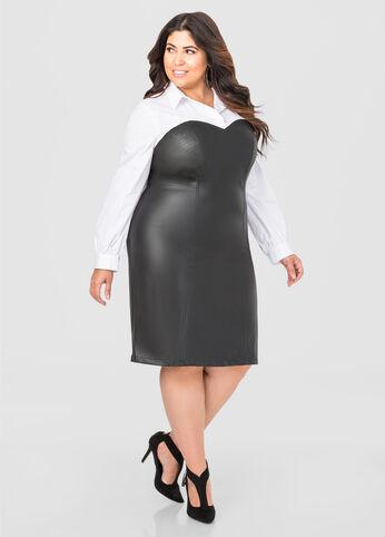 Faux Leather Bustier Dress