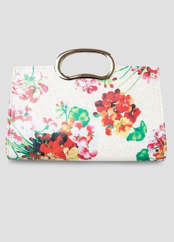 Floral Print Clutch Bag in Ivory