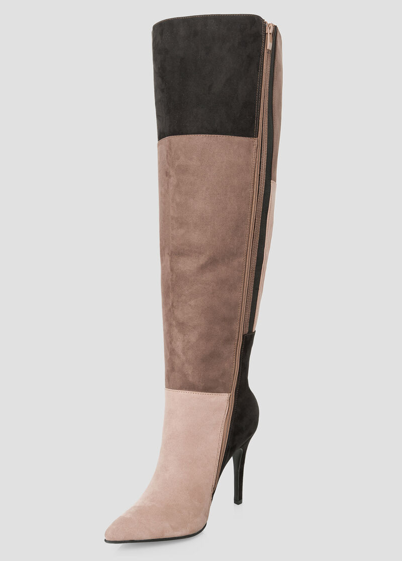 Plus Size Colorblock Over The Knee Boot - Wide Calf Wide Width 068 ...