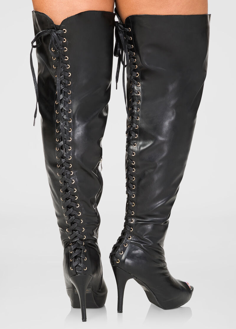 Lace Up Over The Knee Boots Wide Calf Boots Ashley Stewart