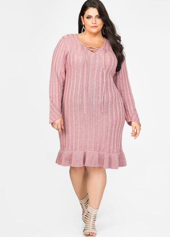 Metallic Flippy Hem Sweater Dress