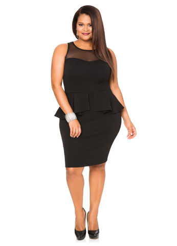 Mesh Sweetheart Peplum Dress-Plus Size Dresses-Ashley Stewart
