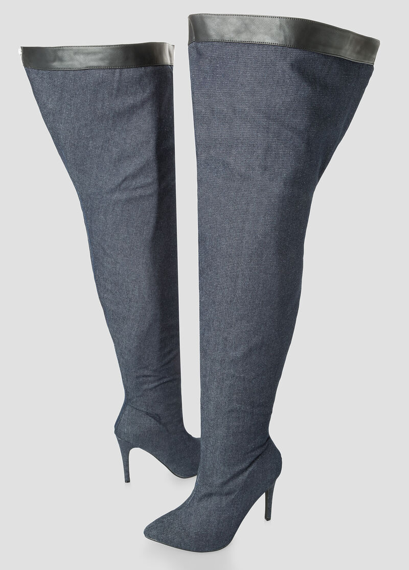 plus size denim thigh high boot wide calf wide width
