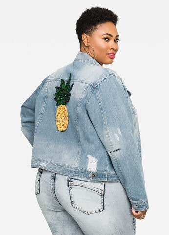 Sequin Pineapple Jean Jacket