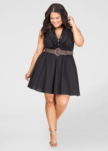 Belted Ruffle Front Skater Dress