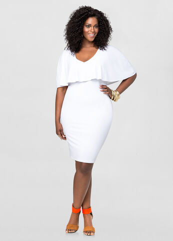 V neck cape dress plus size dresses ashley stewart 010 for Ashley stewart wedding dresses
