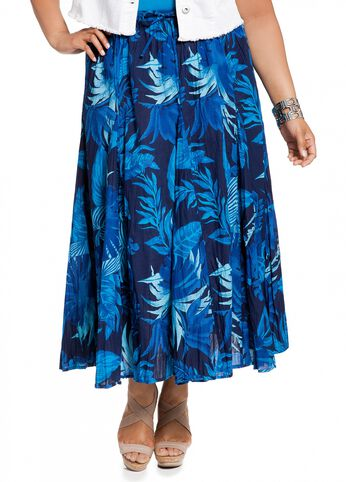 Tropical Floral Print Skirt