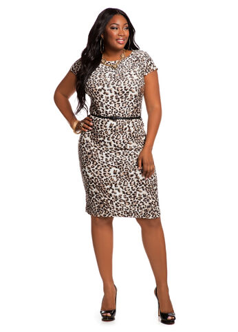 Textured Animal Print Dress