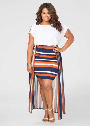 Hi-Lo Stripe Maxi Skirt