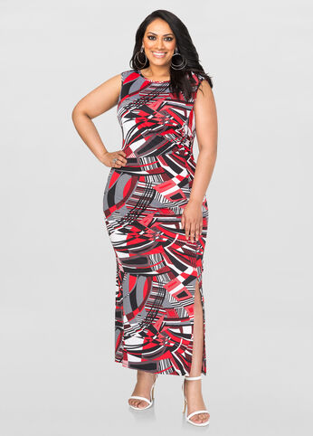 Geo Side Slit Maxi Dress