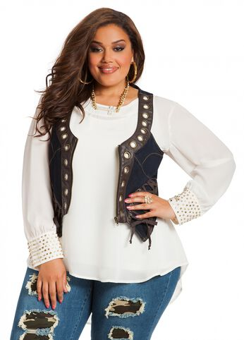 Lace Side Denim Vest