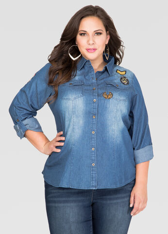 Patch Denim Shirt-Plus Size Shirts-Ashley Stewart-035-L1D3531X