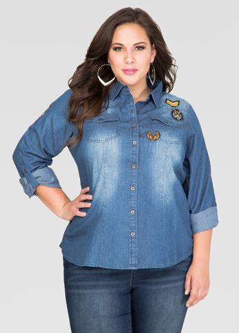 Patch Denim Shirt-Plus Size Shirts-Ashley Stewart-035-L1D3531X