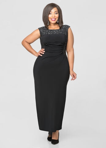 Ruched Foil Lace Yoke Gown