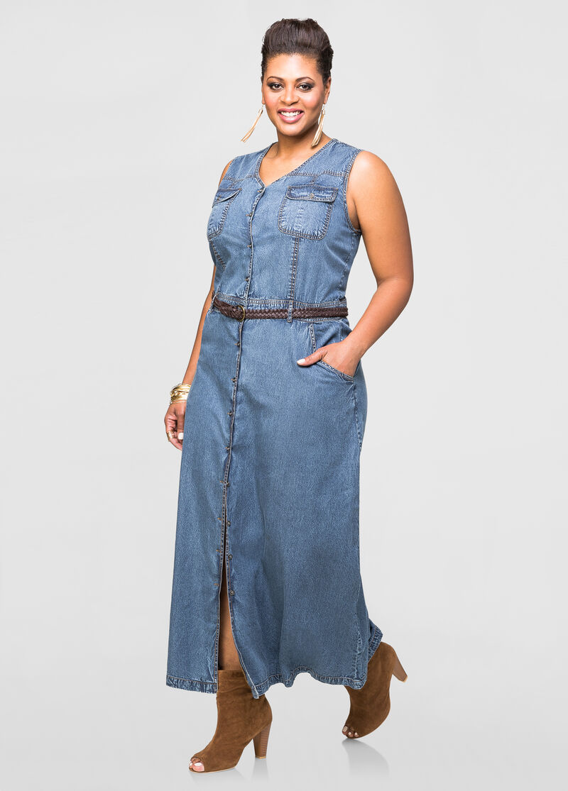 Belted Jean Maxi Dress-Plus Size Dresses-Ashley Stewart-010-3712L