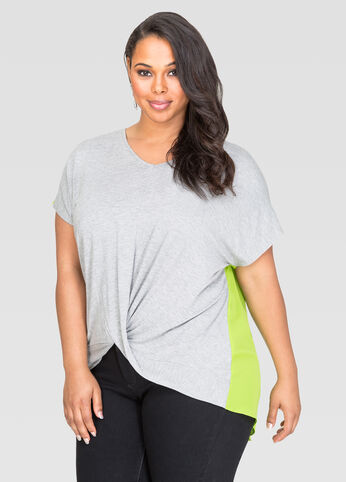 Contrast Back Twist Front Tee
