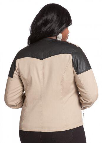 Web Exclusive: Asymmetrical Zipper Embellished Twill Jacket