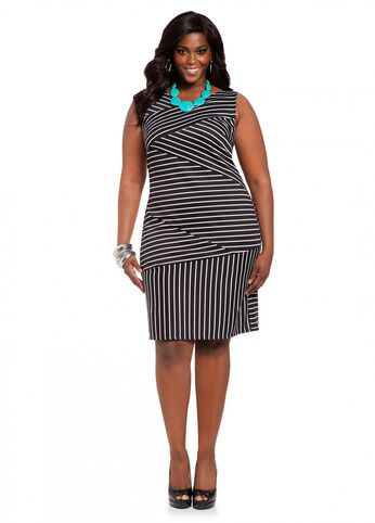 Asymmetrical Striped Body Con Dress