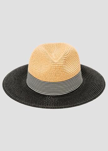 Colorblock Stripe Straw Fedora Cap
