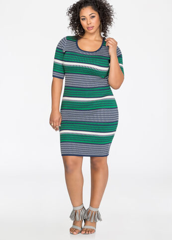 Jacquard Bodycon Sweater Dress
