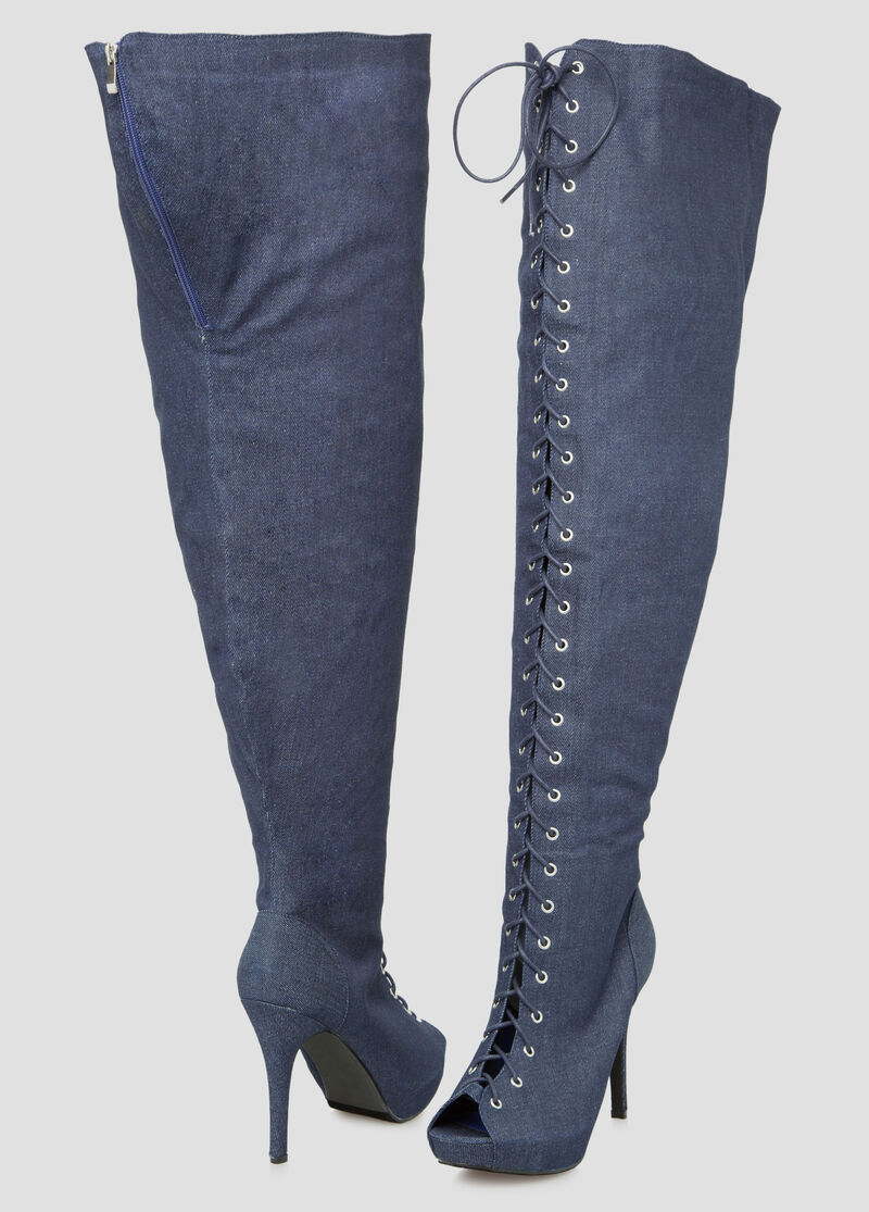 Denim Thigh High Boot - Wide Calf Boots - Ashley Stewart-068-ASH29966