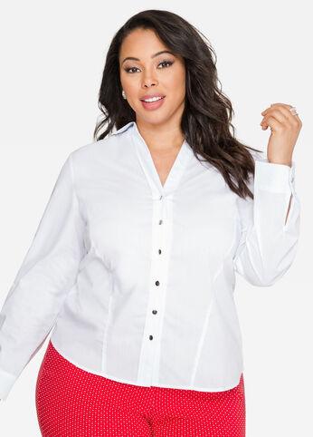 V-Neck Button Front Shirt