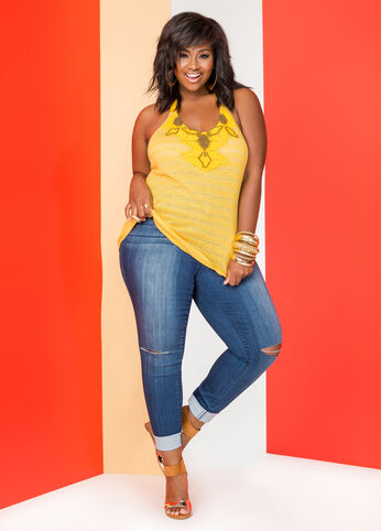 Plus Size The Bright Side Outfit Denim and Tee