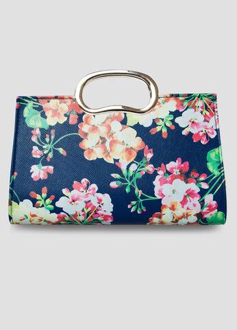 Floral Print Clutch Bag in Navy Blue