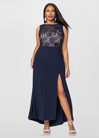 Plus Size Plus Size Front Slit Special Occasion Dress Navy