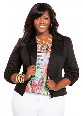 Sateen Ruched Blazer