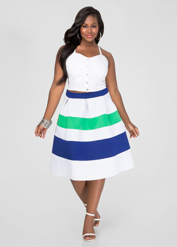 Plus Size Tri-Color Neoprene Skirt in Blue - Front