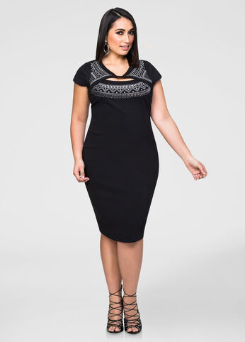 Stud Cut-Out Bodycon Dress
