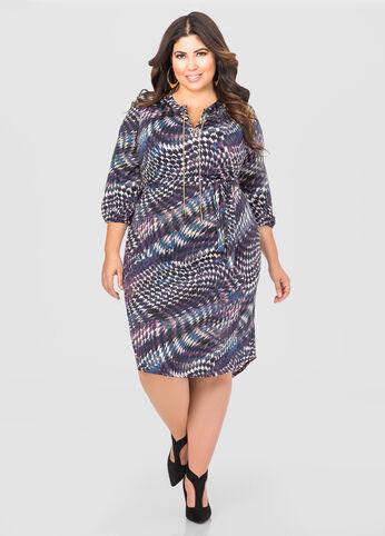 Printed Chain Lace-Up Shirtdress