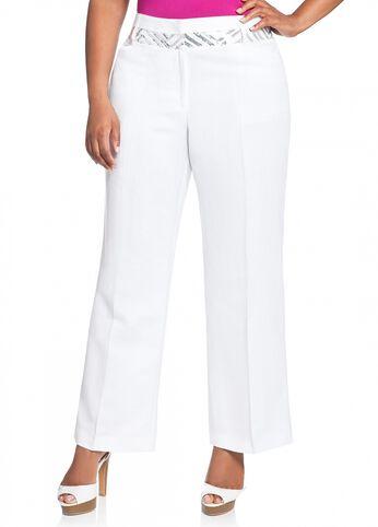 Sequin Inset Linen Pant