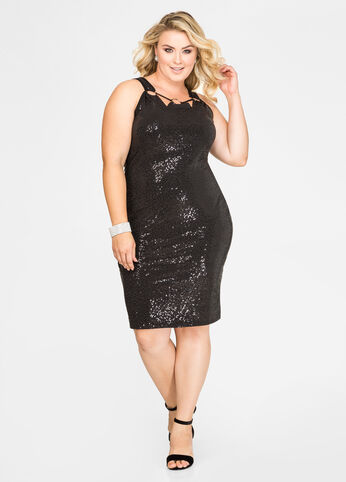 D-Ring Sequin Sheath Dress
