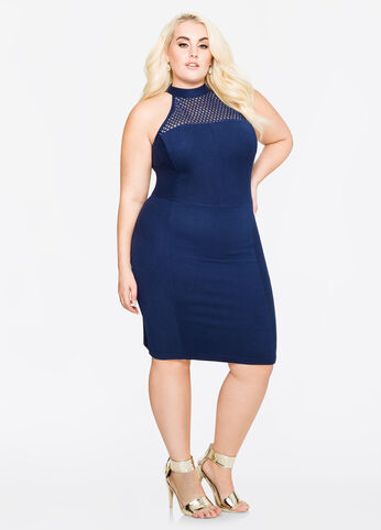 Bodycon Mesh Halter Dress