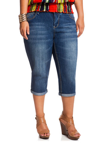 Whiskered Denim Capris