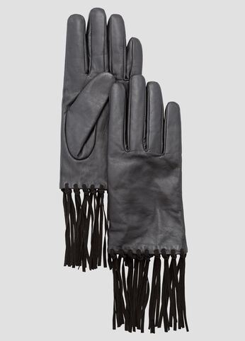 Genuine Leather Suede Fringe Gloves