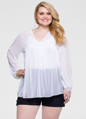 Sheer Textured Chiffon Swing Top