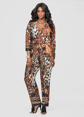 Surplice Animal Print Jumpsuit