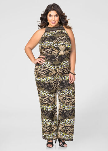 Plus Size Beaded Neck Animal Jumpsuit Green