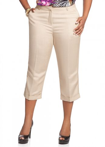 Linen Button Accent Crop Pant