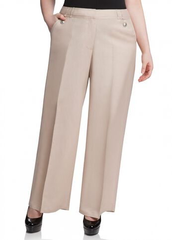 Button Accent Linen Pant
