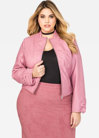 Lattice Sleeve Faux Leather Jacket