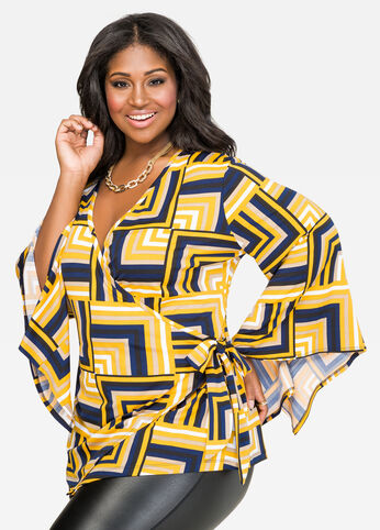 Bold Geo Wrap Front Top