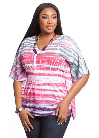 Water Striped Print Knit Top