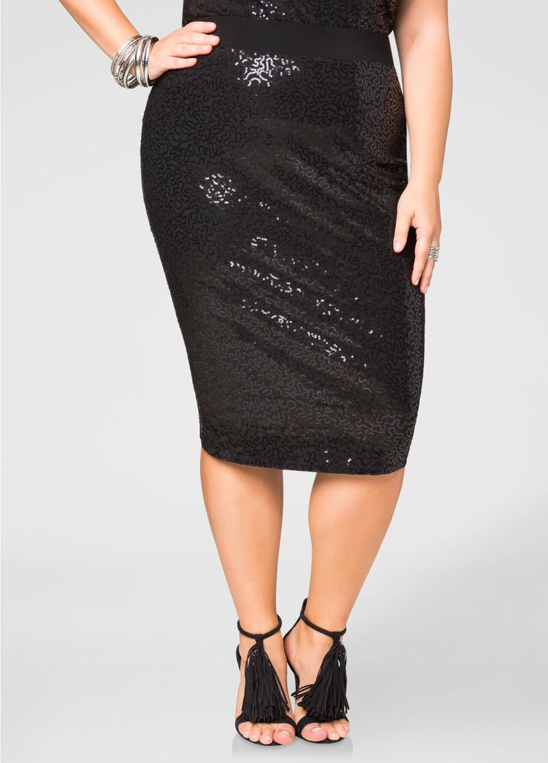 Sequin Pencil Skirt-Plus Size Skirts-Ashley Stewart