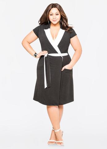 Contrast Collar Coat Dress