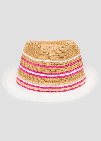 Multi Stripe Straw Fedora Hat