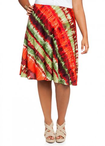 Tie-dyed Striped Skirt